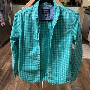 American Eagle teal plaid button up shirt